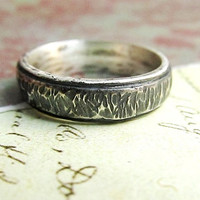 Rustic Men's Band, Hammered Tree Bark Texture, Comfort Fit, Domed, Sterling Silver, Metalwork, Brushed, Oxidized... 5mm