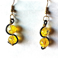 Two toned Yellow clear and black mini squiggle earrings