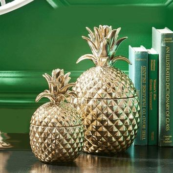 Golden Hospitality Pineapple Jars- Set of 2