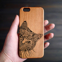 Cat iPhone 6 6s Wood Case , Wood Phone Case , Personalized iPhone 6 6s Case Wood , Custom Wood iPhone 6 6s Case , Wood iPhone 6 6s Case