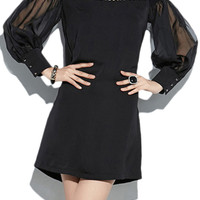 ROMWE Mesh Hollow Sheer Black Dress