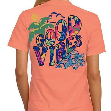Southern Attitude Tortuga Moon Good Vibes Soft Canvas Papaya T-Shirt