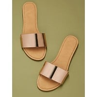 Open Toe Wide Band Flat Slide Sandals