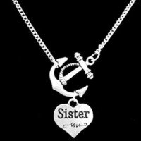 Anchor Sister Gift For Sisters Charm Nautical Family Necklace