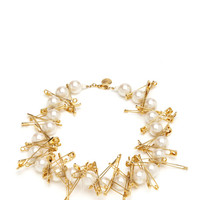 Pearl Necklace With Large Safety Pins by Tom Binns - Moda Operandi