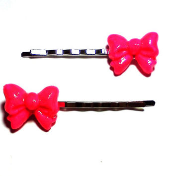 Neon Pink Bow Bobby Pins Cabochon Hair Pins Party Bachelorette Accessories