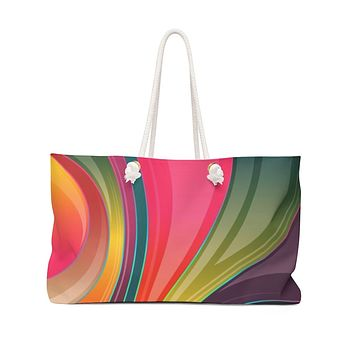 Weekender Tote Bag, Colorful Abstract Modern Art Design