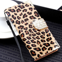 For iPhone 7 6 6S Plus 5 5S SE Case Luxury Wallet Leopard Flip Leather Case For iPhone 6 6S 7 5 5S SE 6 Plus Diamond Cover Coque