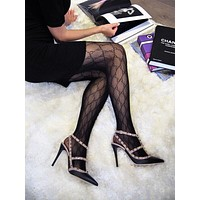 Fashion Flocking Tights High Quality Sexy France Fashion Gauze Letters Transparent Fish Net Pantyhose Womens Stockings
