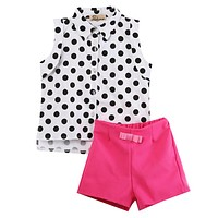 Summer Toddler Girls Clothes Children's Clothing Kids Sets Sleeveless Dot Shirts + Rose Red Shorts 2pcs Baby Suits