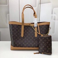 LV Louis Vuitton Monogram Tote canvas handbag two-piece shopping bag