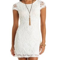 Open Back Bodycon Lace Dress by Charlotte Russe - Ivory