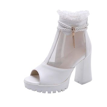 Women's Ultra High Heeled Breathable Mesh Chunky Heel Cool Boots
