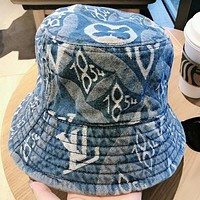 LV Fashion New Monogram Print Women Men Cap Fisherman Hat Blue