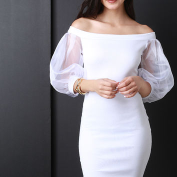 Off The Shoulder Sheer Puff Sleeve Bodycon Dress