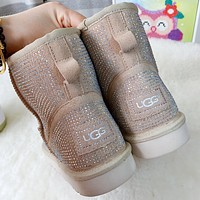 UGG middle cut full diamond personality boots men's and women's warm snow boots Shoes Beige