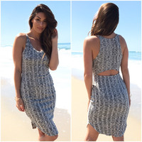 Another Round Ribbed Dress In Grey