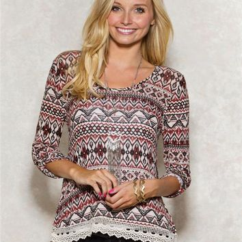 Aztec Crochet Hem Sweater