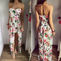Floral Printed Strapless Chiffon Off Shoulder Sexy Maxi Dress