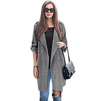 Trench Coat For Women 2016 Fashion Turn-down Collar Double Breasted Contrast Color Long Coats Plus Size Casaco Feminino M-XXL