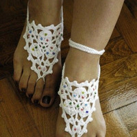 White Barefoot Sandals - with beads, Pool, Ladies, Summer, Footwear, Nude shoes,Bridal, Wedding, aglow, soft, vamp,lace shoes,fingerless