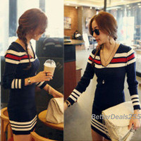 Lady Winter Fashion Casual Long Sleeve Wool V-Neck Tops Mini Dress Hot Fashion