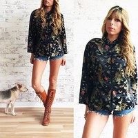 Vintage 1970's BLACK Gypsy Bell Sleeved Ethnic Boho Hippie Jacket Blouse || Sgt. Peppers || Asian Cheongsam || Size Medium To Large