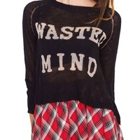 Wasted Mind Sweater Top - Black