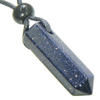 Lucky Crystal Point Pendant Necklace in Blue Goldstone Crystal