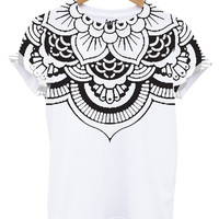 Mandala Neck All Over T Shirt