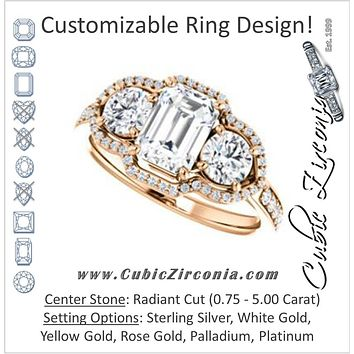 Cubic Zirconia Engagement Ring- The Hadley (Customizable Radiant Cut 3-stone Design Enhanced By Halo and Pavé)
