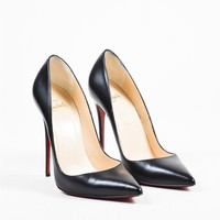 HCXX Christian Louboutin Black Leather Pointed Toe   So Kate 120   Pumps