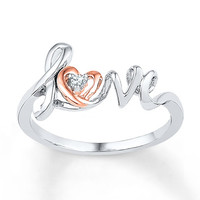 Heart Ring Diamond Accents Sterling Silver/10K Gold