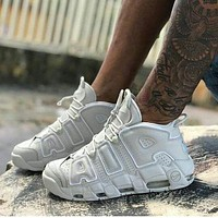 Nike Air More Uptempo Fashion Women Men Casual Sports Basketball Shoes Sneakers Full Black