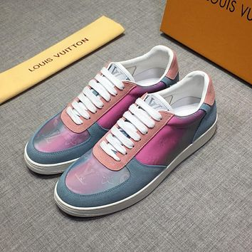 LV Louis Vuitton OFFICE QUALITY Men's Leather Fashion Low Top Sneakers Shoes