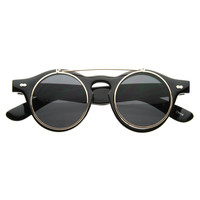 Vintage Retro Steampunk Costume Round Circle Flip Up Clear Lens Glasses 2950