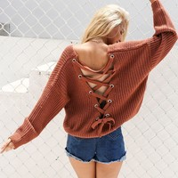 Backless Lace-Up Oversized Sweater
