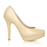 EVE Nude PU Leather Stiletto High Heel Platform Court Shoes