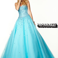 Sweetheart Beaded Tulle Ball Gown Paparazzi Prom Dress By Mori Lee 97034