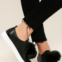 Dirty Laundry Fluffed Up Black Leather Pompom Sneakers