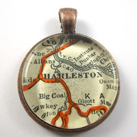 Charleston, West Virginia, Pendant from Vintage Map, in Glass Tile Circle