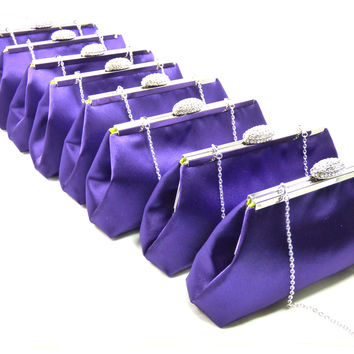 Set of Eight Blackberry Purple and Lime Green Bridesmaid Gift Clutches 5% Off