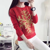 Women's Wear Loose Sweaters Christmas Snowflake Sequins Turtleneck Sweater