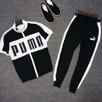 PUMA Newest Men Casual Print Short Sleeve Top Tee Pants Two-Piece Set Sportswear Black