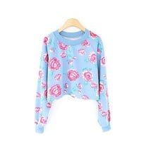 ZLYC Vintage Villatic Floral Print Casual Sweatshirt for Girls
