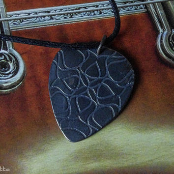 """Rustic custom guitar pick necklace -guitar gifts - large - """"Classy-Pick"""" brand - gift for boyfriend, son, dad"""