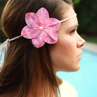 Floral Halo Boho Headband. Adjustable Hair Accessories for Girls and Women . Tie On Head Wrap - Fabric Flower Halo Headband Flower Tie Back