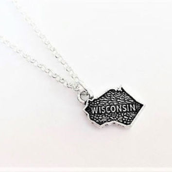 Wisconsin necklace, home state necklace, Wisconsin state necklace, home state jewelry, personalized gift for her, silver necklace, map charm