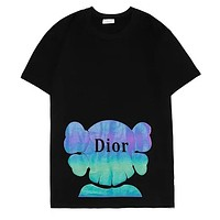 Dior 2019 new colorful reflective printing men and women's round neck T-shirt Black