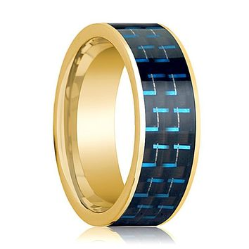 Men's Polished 14k Yellow Gold Flat Wedding Band with Black & Blue Carbon Fiber Inlay - 8MM